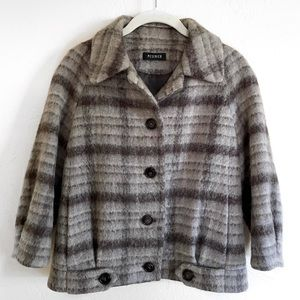 Peserico Wool Mohair Blend Checkered Cropped Coat